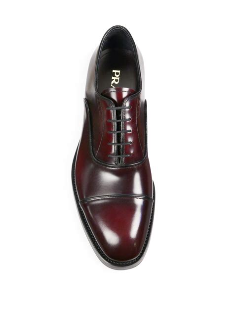 Prada Brushed Leather Oxford for Men - Lyst